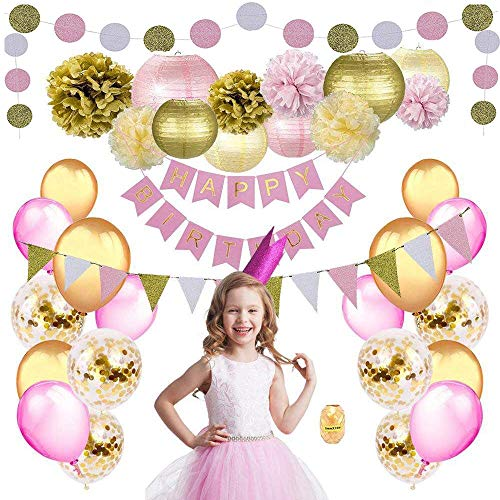 Birthday Party Decorations for Girls & Women by Nextin, 48pc Pink Gold Party Decorations kit Includes Pom Poms, Lanterns, Happy Birthday Banner, Glitter Garlands, Balloons, Confetti -