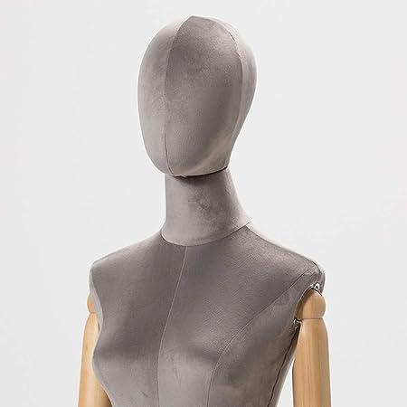 8 Colori HAIPENG Manichino Sartoriale Busto Donna Femmina Torso Corpo con Capo Mani di Legno Stand in Metallo per Gioielli Display Argento Color : Beige, Size : S