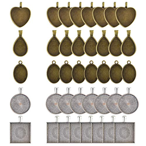 Yolyoo 40PCS Pendant Trays - Round & Square & Heart & Teardrop & Oval for Crafting DIY Jewelry Gift Making