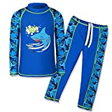 TFJH E Kids Boys Swimsuit UPF 50+ UV Sun Protective 2PCS Fish,Navy Long,9-10Y(Tag No.140/146)
