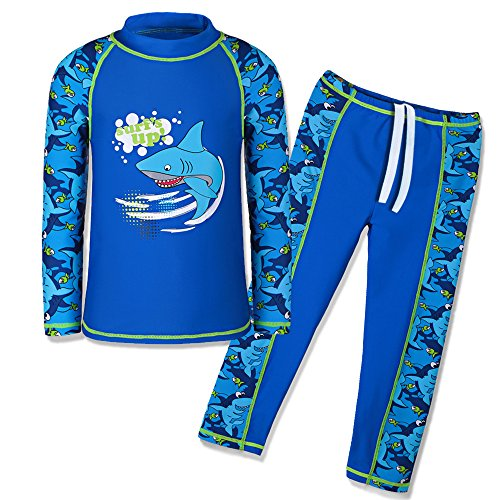TFJH E Swimsuits for Boys UPF 50+ UV Sun Protective Swimming Custumes Fish Navy Long 104/110]()