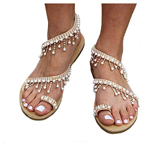 Athlefit Women's Beaded Flat Sandals Pearl Beach Toe Ring Casual Bohemia Summer Sandals Size 6.5 Silvery