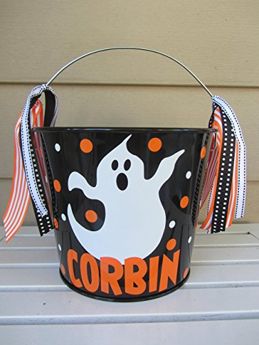 Personalized 5 quart Halloween pail- ghost design - trick or treat -