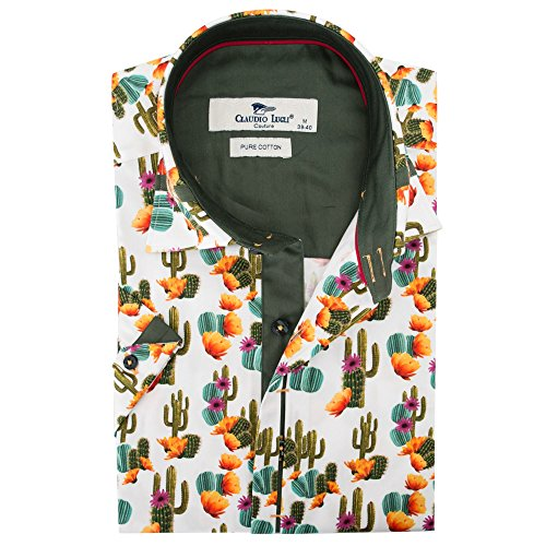 Claudio Lugli Men's Cactus Print Fashion Luxury Cotton Short Sleeve Summer Casual Shirt CP6407 2xlarge Multi by Claudio Lugli (Image #2)