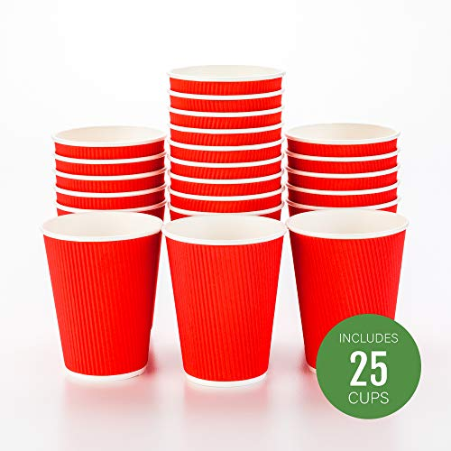 (25-CT Disposable Red 12-OZ Hot Beverage Cups with Ripple Wall Design: No Need for Sleeves - Perfect for Cafes or Home Use -  Recyclable Paper - Insulated - Wholesale Takeout Coffee Cup)