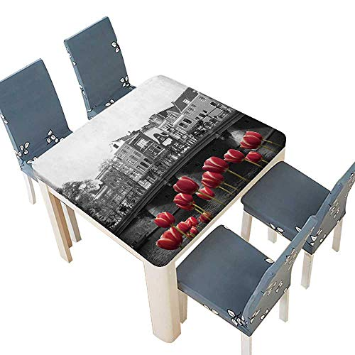 PINAFORE Polyester Black White Image an Amsterdam Canal red Tulips Table Cover Dining Room Party 41 x 41 INCH (Elastic Edge)