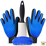 Pet Grooming Gloves Kit- Hair Remover, Deshedding Dogs,...