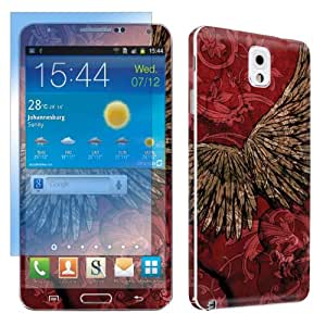 Samsung Galaxy Note 3 Vinyl Skin Decal Sticker + Screen Protector Set By SkinGuardz - Red Wings