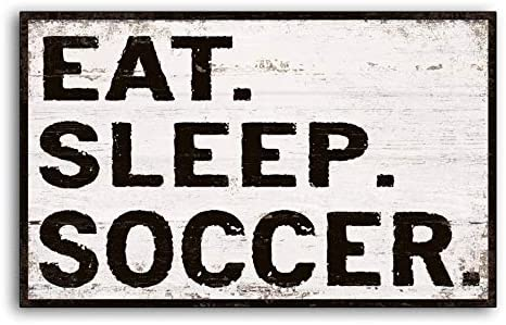 CELYCASY Cartel de Madera Texto en inglés Eat Sleep Fútbol, para Deporte, Bar, Sala de Juegos, futbolín, Madera, Hecho a Mano: Amazon.es: Hogar