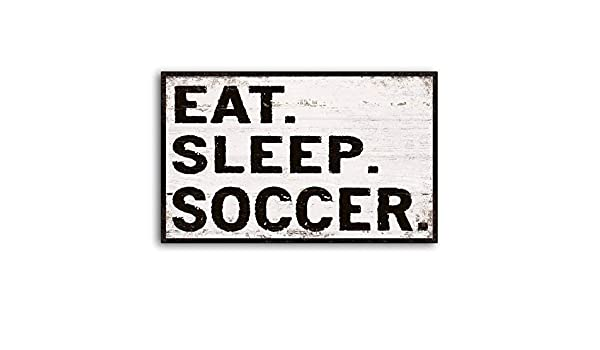 CELYCASY Cartel de Madera Texto en inglés Eat Sleep Fútbol, para ...