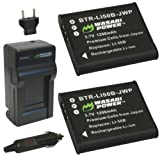 Wasabi Power Battery (2-Pack) and Charger for Ricoh Pentax D-LI92 and Ricoh Pentax Optio I-10, RZ10, RZ18, WG-1, WG-1 GPS, WG-2, WG-2 GPS, WG-3, WG-3 GPS, WG-4, WG-4 GPS, WG-10, X70