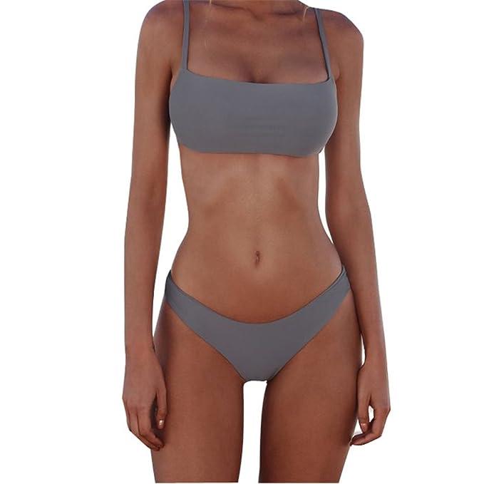 2840b93bad Image Unavailable. Image not available for. Colour: XUNYU Bikini Set Solid  Brazilian Swimwear Two Pieces Swimsuit Push Up Unpadded Bathing Suits