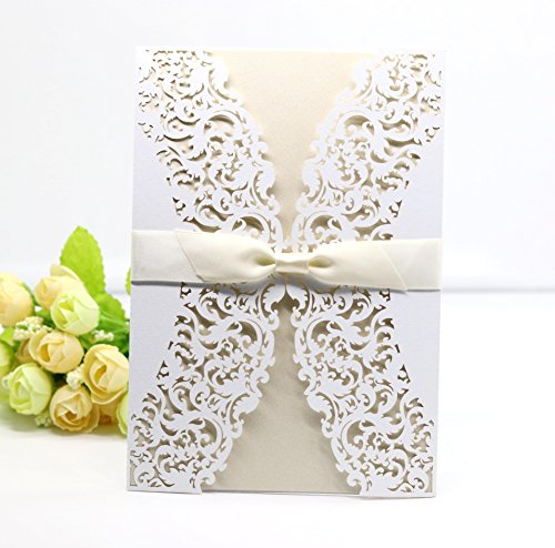 UNIQLED Pack of 25 Laser Cut Lace Invitation Cards Kit for Wedding Bridal Shower Engagement Birthday Party with Envelopes and Printable Paper (White Folded Flowers)
