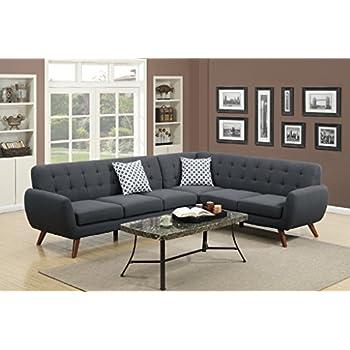 Attirant Modern Retro Sectional Sofa (Ash Black)
