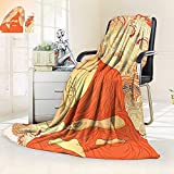 vanfan Blanket Comfort Warmth Soft Decor Meditation Aura Thai Temple Ornamental Motive Spiritual Design Print Accessories Orange,Silky Soft,Anti-Static,2 Ply Thick Blanket. (50''x30'')