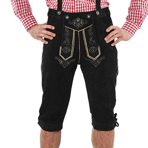Meloo Trachtenhose Herren Trachten Kniebund Lederhose Bayerische Kostüm Trachtenmode Schwarz Dunkelbraun Hellbraun (50, Schwarz)