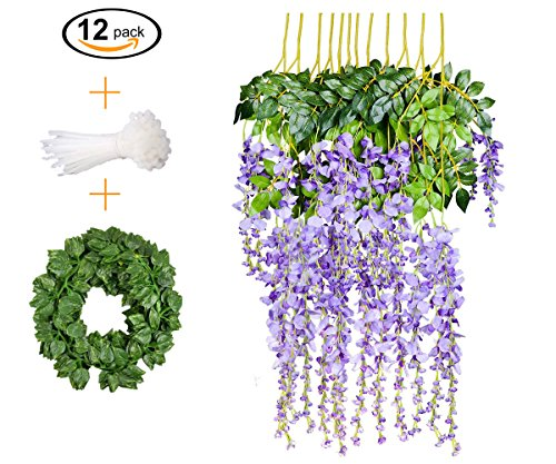 12 PCS, 3.6 feet, Artificial Wisteria Vine Ratta Hanging Garland Silk Flower String Set || Come with a 7 feet Leaf Vine String and 18 pcs Zip Ties || By KooCoo Mummy ( Lavender - Lavender Topiary