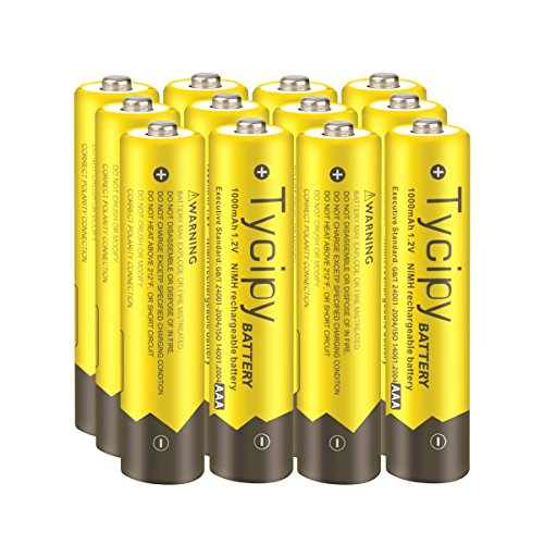 Tycipy 12 Pack 1.2V 1000mAh Rechargeable Ni-MH AAA Batteries
