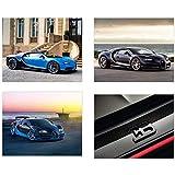 Insire Bugatti Poster Wall Art | Set of Four 8x10 Sports Car Art | Chiron | Veyron
