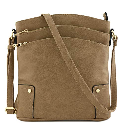 - Triple Zip Pocket Large Crossbody Bag (Taupe)