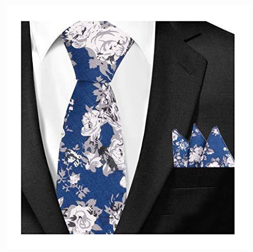 Blue Italian Tie - Men's Skinny Tie Hanky SET Blue White Silk Cotton Floral Printed Italian Necktie