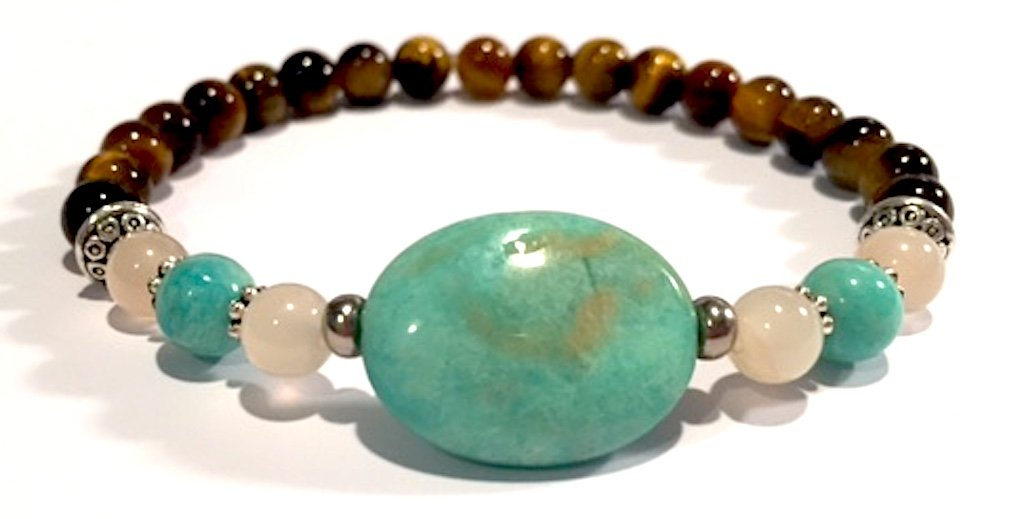 Handmade Amazonite, Sunstone and Tigers Eye Healing Bracelet