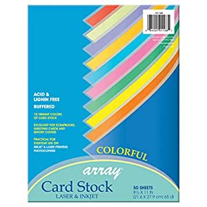 Pacon Card Stock, 8 1/2 inches by 11 inches, Colorful Assortment, 50 Sheets (101168)