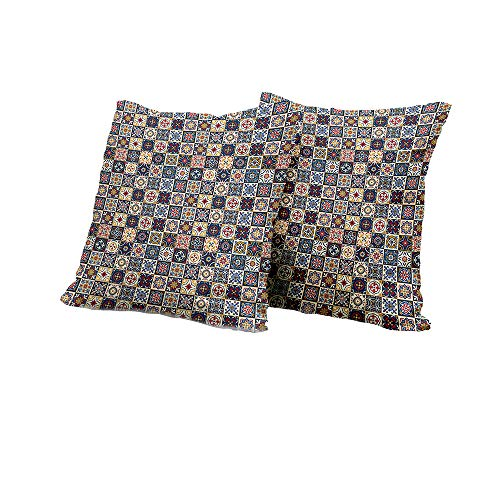 futon Cushion Cover Moroccan,Portuguese Azulejo Checkered Squares Colorful Pattern Floral Arrangement,Dark Blue Amber Red IKEA Pillow Covers 24x24 INCH 2pcs (Olive Damask Futon Cover)