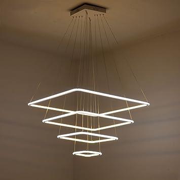 Moderne Bagues Carrees Led Lampes Suspendues Pour La Vie Chambre