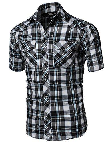 Blue Plaid L/s Shirt (Western Casual Button Down Shirt Black White Blue Size)