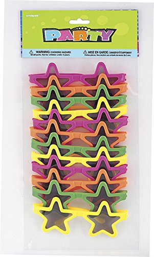Neon Star-Shaped Novelty Glasses, Assorted 12ct