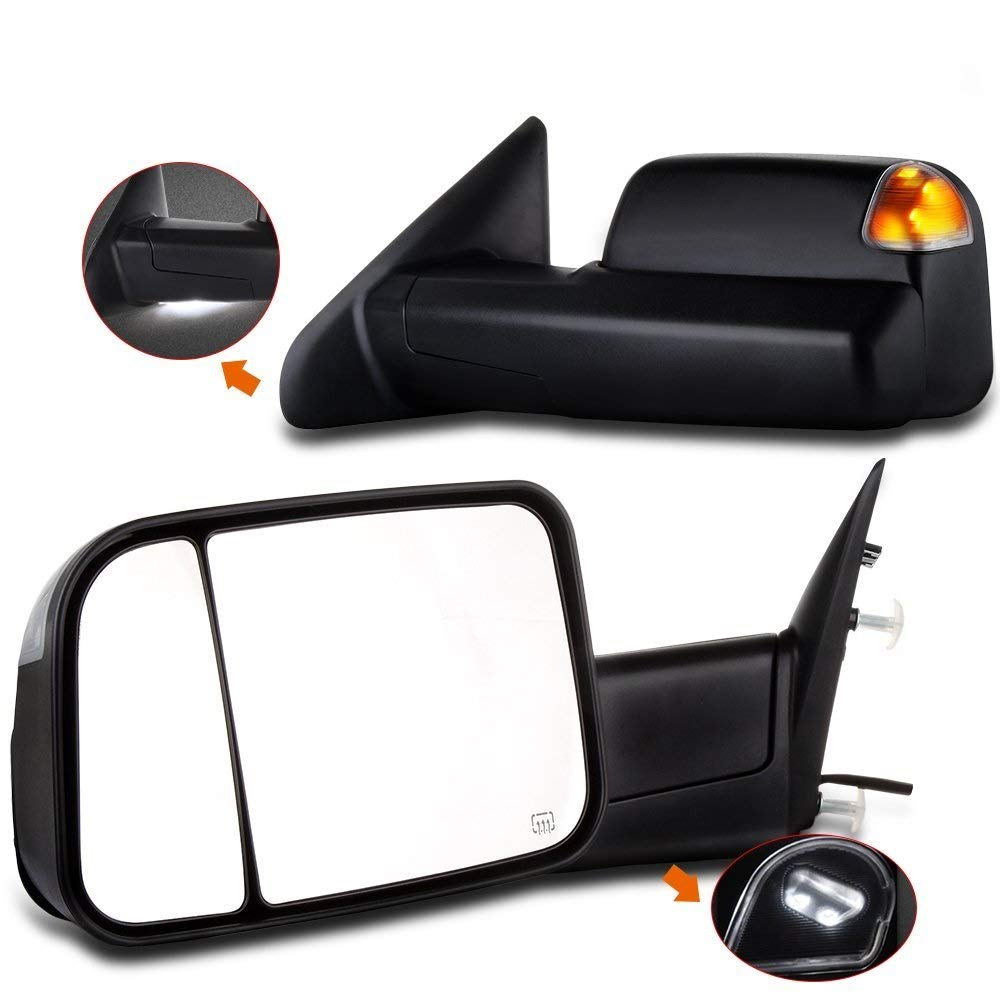 SCITOO fit Dodge Ram Towing Mirrors Black Rear View Mirrors fit 2014-2016 Dodge Ram 1500 2500 3500 Truck Larger Glass Power Control, Heated Turn Signal Puddle Light Manual Flip up Folding 050729-5206-1830121994
