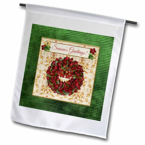 3dRose Beverly Turner Christmas Design - Holiday Red Green Wreath, Bells, Holly Background, Seasons Greetings - 18 x 27 inch Garden Flag (fl_267928_2)