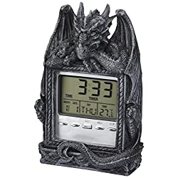 Design Toscano Dragon's Time LCD Alarm Clock in Grey Stone