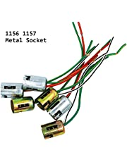 YSY 4pcs Metal 1157 Bay15d Car Lamp Lights Bulb Socket Adapter Extension Wire Harness Connector Plug Bulb Holder (Metal 1157)