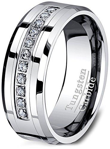 8mm Tungsten Carbide Ring Cubic Zircon Mens Wedding Band ...