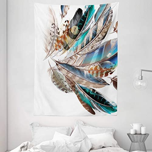 Ambesonne Feathers Tapestry, Vaned Types and Natal Contour Flight Bird Feathers and Animal Skin Element Print, Wall Hanging for Bedroom Living Room Dorm, 60 X 80 , Teal Brown