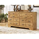 Ashley Furniture Signature Design - Bittersweet Dresser - 6 Drawers - Vintage Casual Replicated Pine Grain - Light Brown