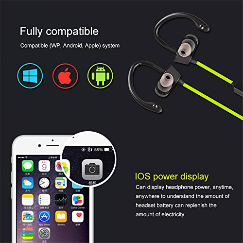 well-wreapped In Ear Earphones with Microphone Wireless Bluetooh,MeiLiio Waterproof Ear Plugs Stereo Headset Noise Canceling Handsfree Earbuds with Mic for iPhone 8 Plus,Samsung Galaxy S7/S8/S9/S9 Plus (Yellow)