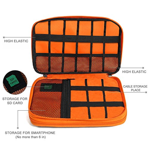 Electronics Organizer, Jelly Comb Electronic Accessories Cable Organizer Bag Waterproof Travel Cable Storage Bag for Charging Cable, Cellphone, Mini Tablet (Up to 7.9'') and More (Orange and Gray) Photo #5