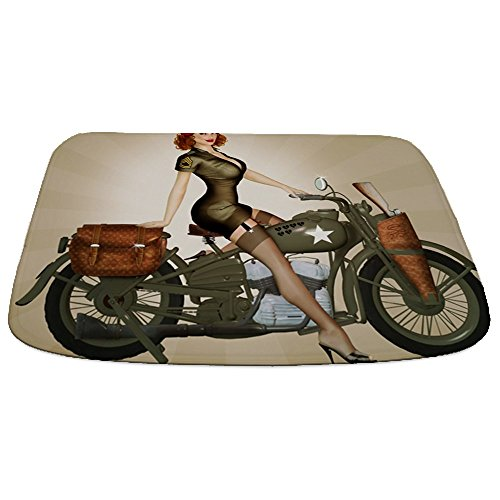 CafePress - Pin Up Girl On Army Motorcycle - Decorative Bathmat, Memory Foam Bath Rug by CafePress (Image #1)