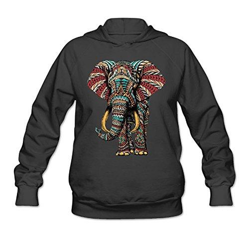 Lucy Jim Women's Ornate Elephant Pullover Hooded Sweatshirt Black M