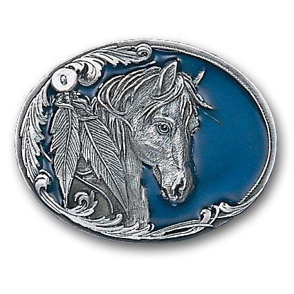 Siskiyou Horse Head and Feather Enameled Belt Buckle