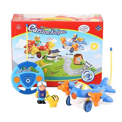 Radio Control 2 Channels Cartoon Airplane Shape Music & Light & Sound Vehicles Educational Recognition Toy ()