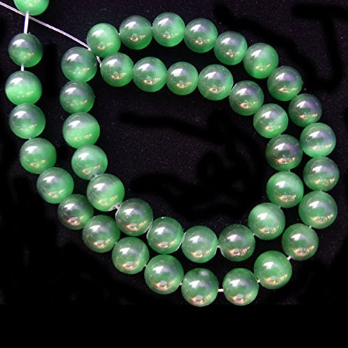 TheTasteJewelry 4mm Round Emerald Green Cat Eye Beads 15 inches 38cm Jewelry Making Necklace (Round Green Cats Eye)