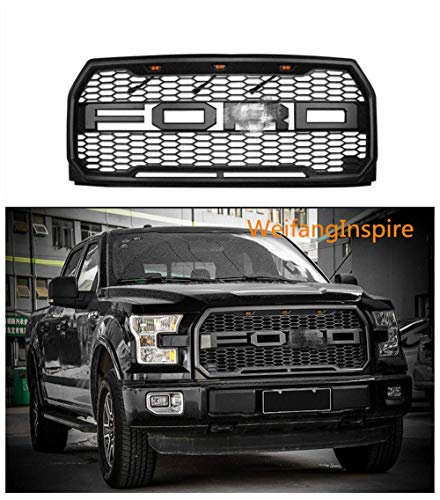 Raptor Style Grille For 2015-2017 Ford F-150 Grille Raptor Style Matte Black XLT LARIAT PLATINUM (WITH letters F & R)