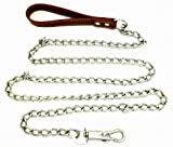DLUX Dog Chain 72″ Inches (6′ feet), Heavy Duty Leash, Brown Leather-like Strong Handle Lead, My Pet Supplies