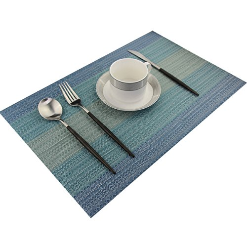 Placemats Washable Easy to Clean Pvc Placemat for Kitchen Table Heat-resistand Woven Vinyl Hard Table Mats 12x18 inches Set of 6 (Blue) by Bright Dream (Image #5)