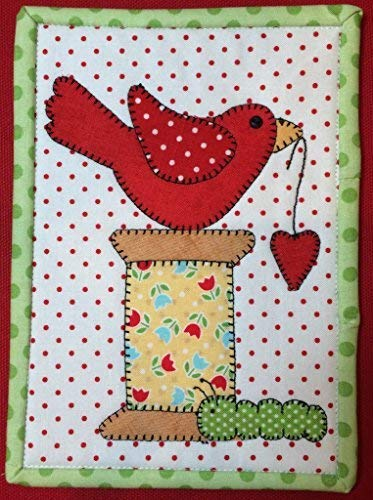 Spoolie Bird Mug Rug Pre-Cut Applique Kit, Sewing Quilt - Fabric Kit Applique