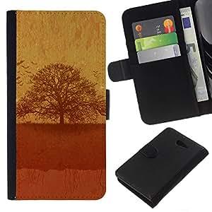 // PHONE CASE GIFT // Moda Estuche Funda de Cuero Billetera Tarjeta de crédito dinero bolsa Cubierta de proteccion Caso Sony Xperia M2 / Vintage Tree /